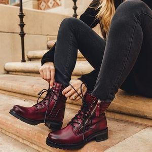 Miz Mooz Bordeaux Leather Lace Up Combat Boots
